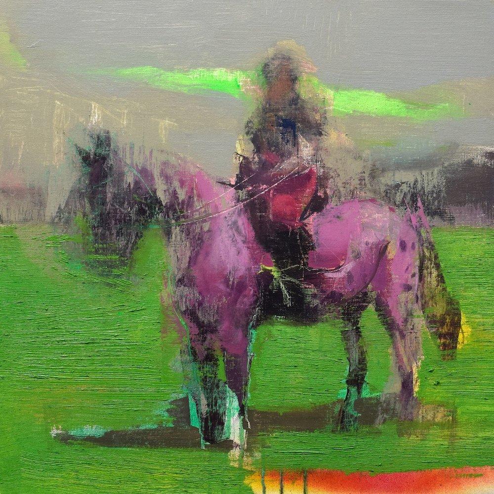 Luis Ceña Ruiz    Pink Horse    50x50 cm   oil on linen