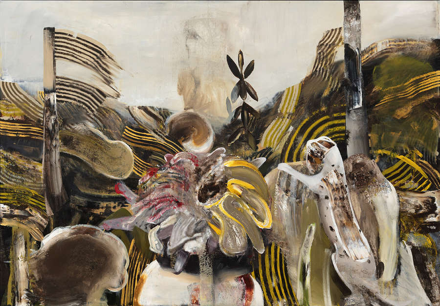 Adrian Ghenie |  Forest Landscape With Fire  | oil on canvas ||  Jungles in Paris  at Galerie Thaddaeus Ropac, Marais, Paris