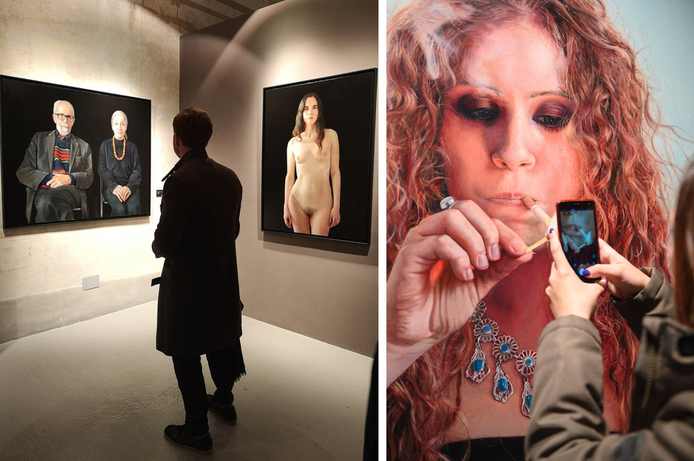 Left: Paintings by Anne-Christine Roda -  Michèle et Michel  (left) and  Anwen  (right)  Right: Tanya Atanasova's painting entitled  Smokey Eyes / Joëlle