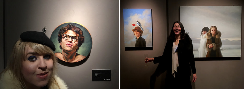 Left: Lorna May Wadsworth next to her painting  The Muse   Righ: Melinda Borysevicz next to her paintings  That was then  (left) and  A Gift for Ariadne  (right)