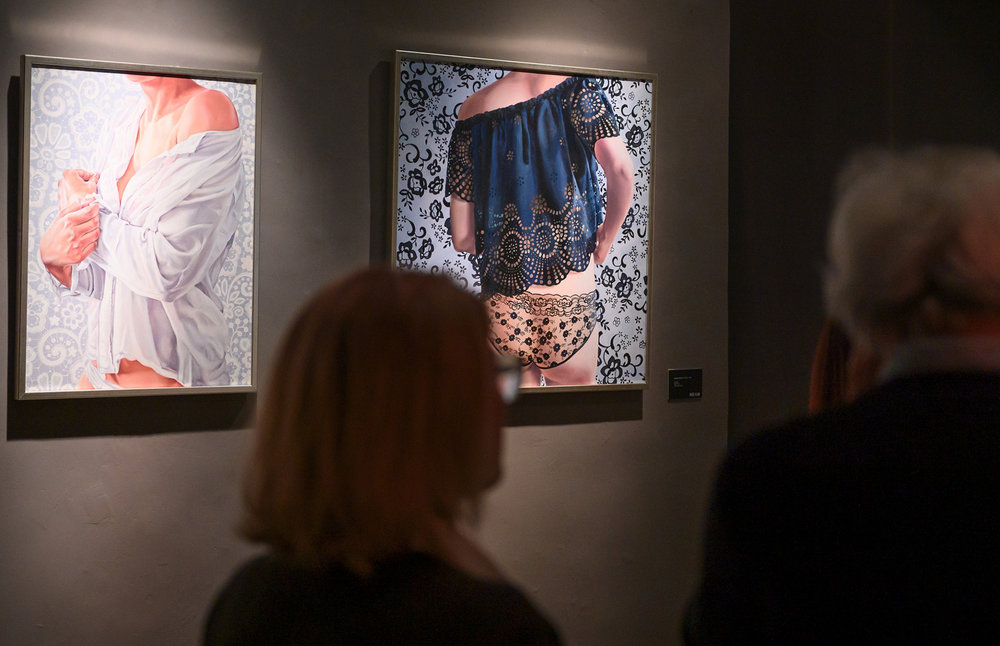 Paintings by Aleksandra Kalisz,  Beginning  (left) and  Change  (right)