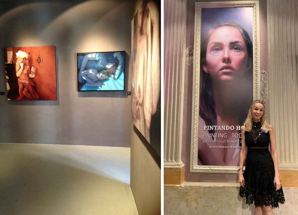 Left: Painting on the right entitled  Frejya and her Moon Cold Auguries  by Pamela Wilson, painting on the left entitled  Band of Moonlight  by Francien Krieg  Right: Kelly Birkenruth next to one of the display banners of  Painting Today  featuring her painting  Guarding the Heart  which also graces the cover of the catalog