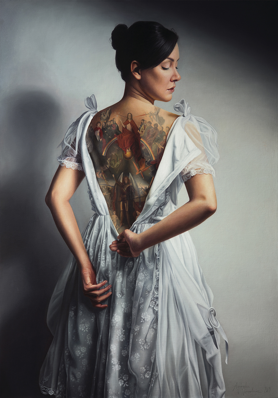 """Girl in White II     oil on canvas   39.25"""" × 27.5""""   2019    Available on Artsy"""