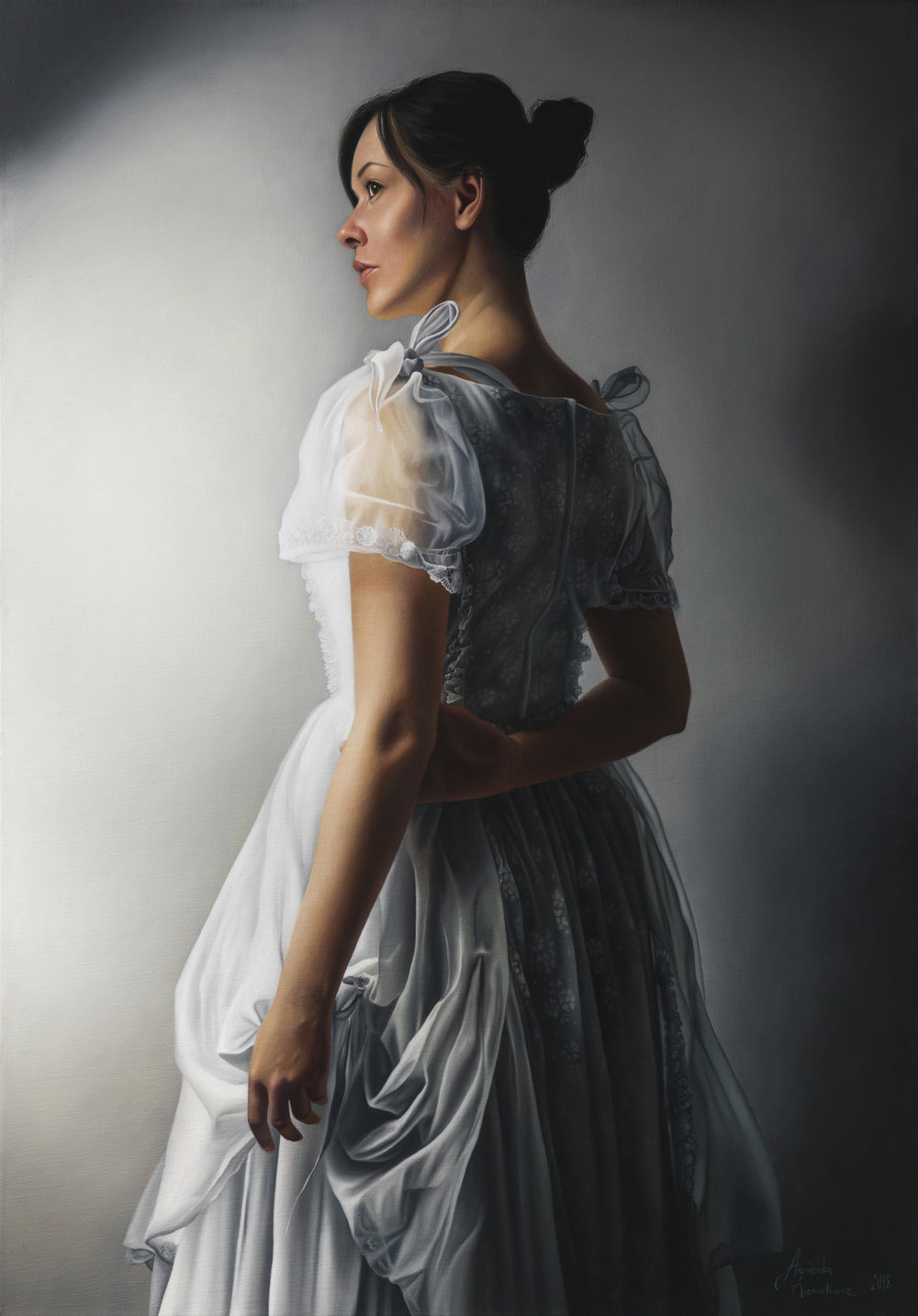 """Girl in White I     oil on canvas   39.25"""" × 27.5""""   2018    Available on Artsy"""