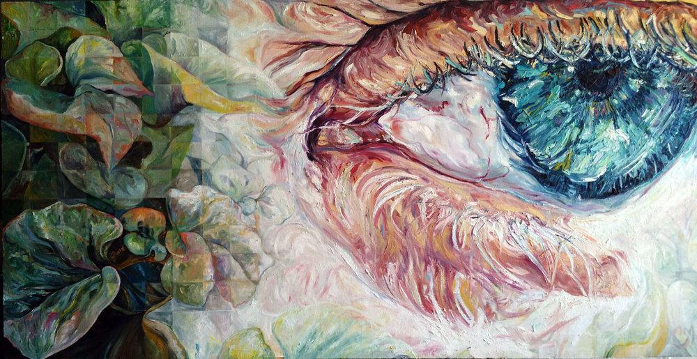 """Open Senses    oil on canvas   25"""" × 50""""   2017"""