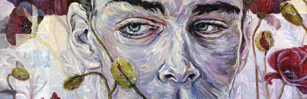 """Sinneswandel    oil on canvas   8"""" ×24""""   2018"""