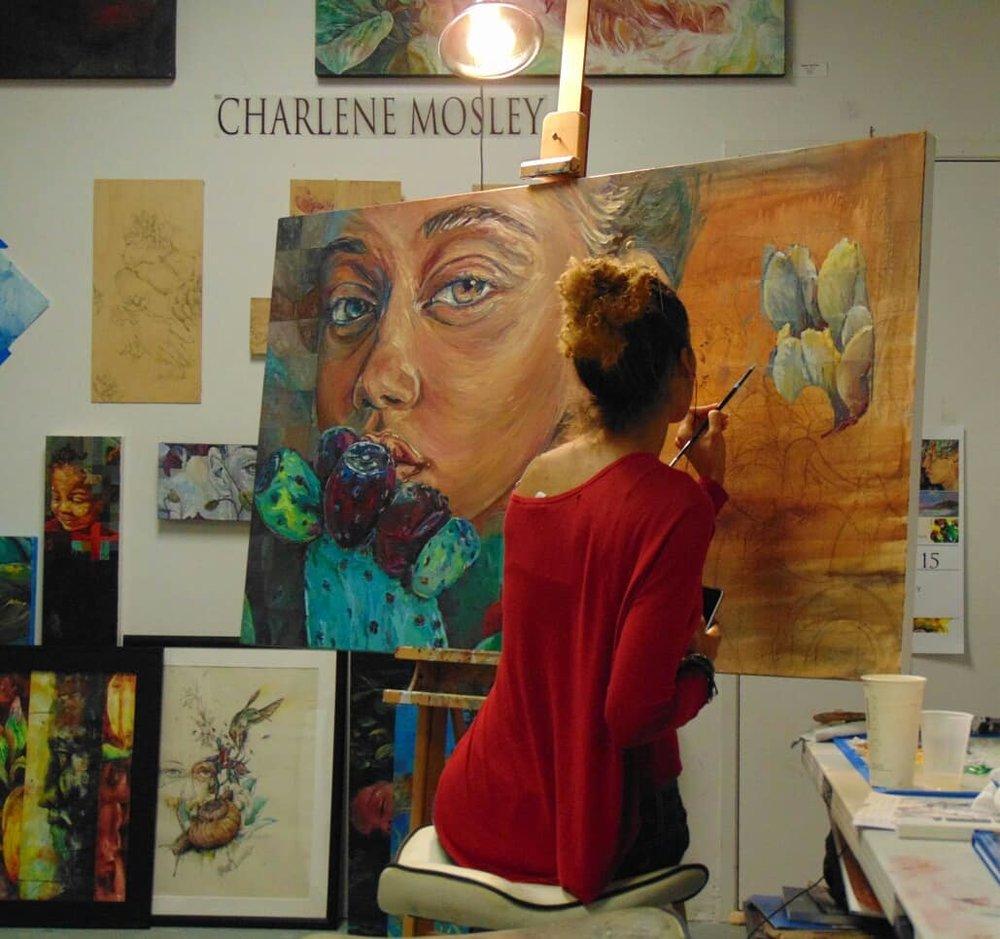 Charlene Mosley in the studio