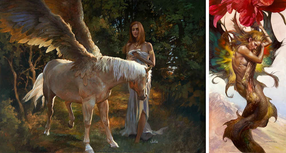 Left: Julie Bell -  If Wishes Were Horses —  Right: Boris Vallejo -  Amaryllis Embrace