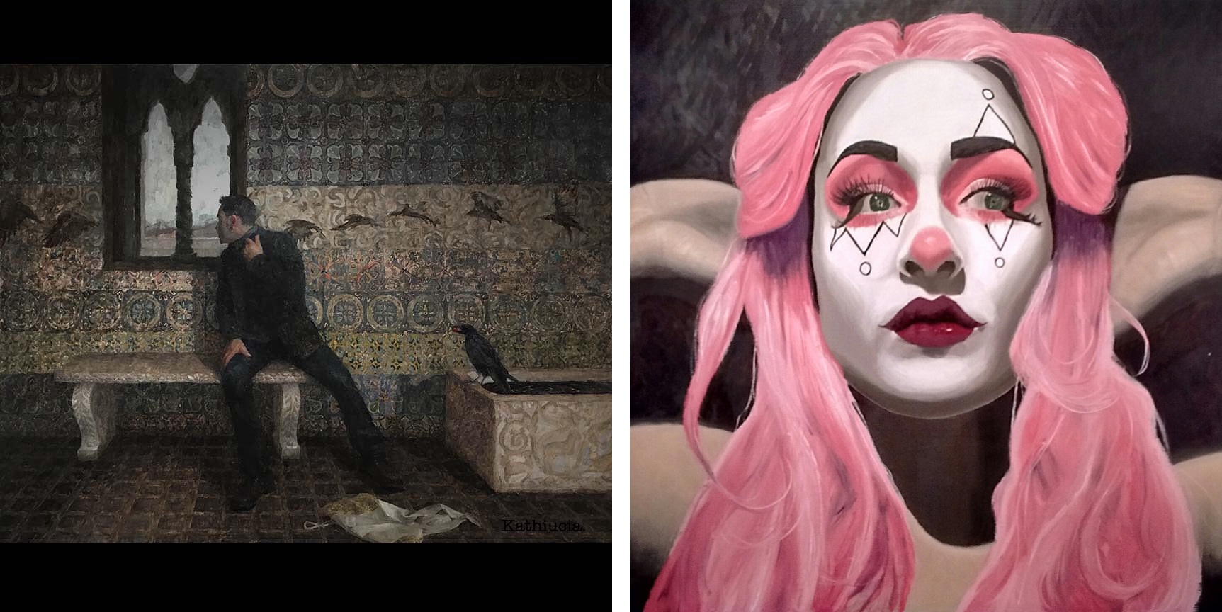 Left: Kathiucia Dias -  A Murder of Crows  — Right: Kenna Houtz -  Confinement