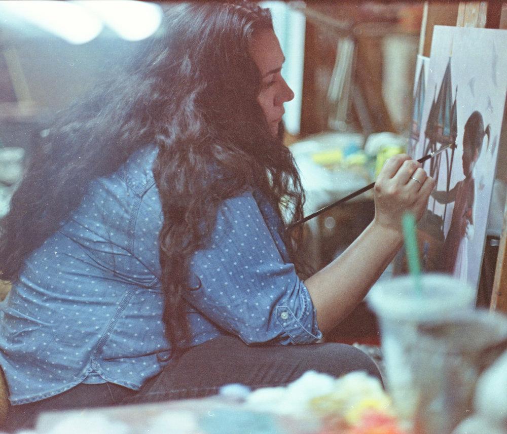 Sara Scribner  in the studio