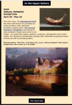 """FISH TAIL""      SALMAGUNDI CLUB ANNUAL MEMBERS'         EXHIBIT -  AWARD WINNING FOR OILS"