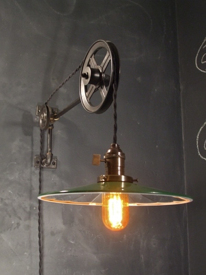Vintage Industrial Pulley Lamp Large w Flat Mirrored Shade