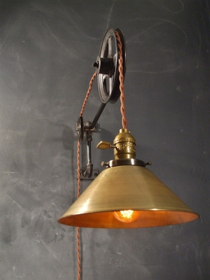 pulley lighting. Vintage Industrial Pulley Lamp - Large (w/ Brass Cone Shade) Lighting