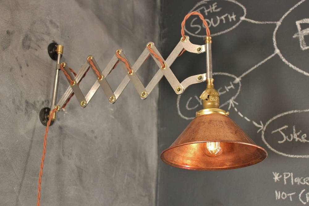 Awesome Vintage Industrial Scissor Sconce   Accordion Lamp