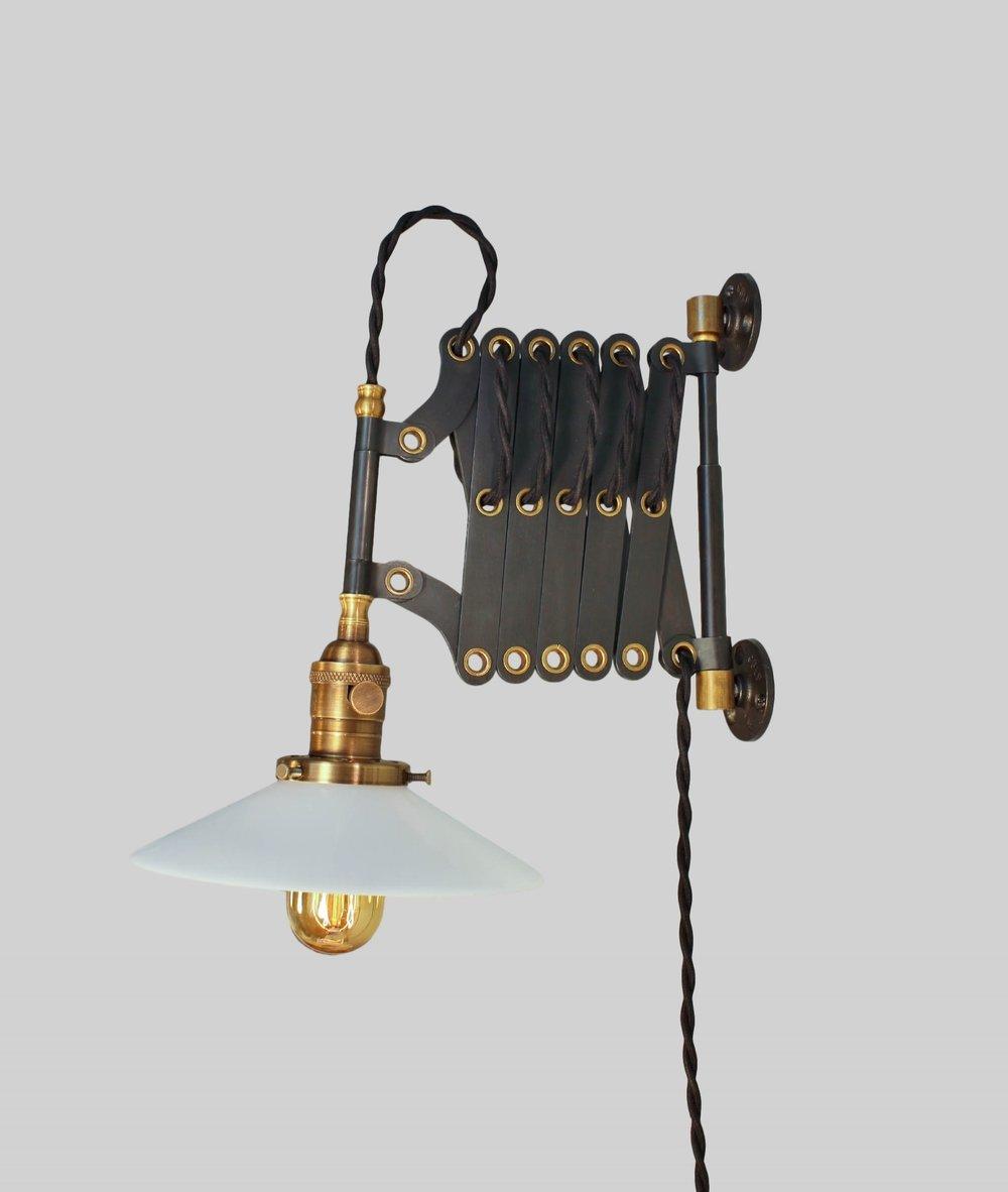 Lovely Antique Industrial Scissor Lamp   Vintage Accordion Lamp