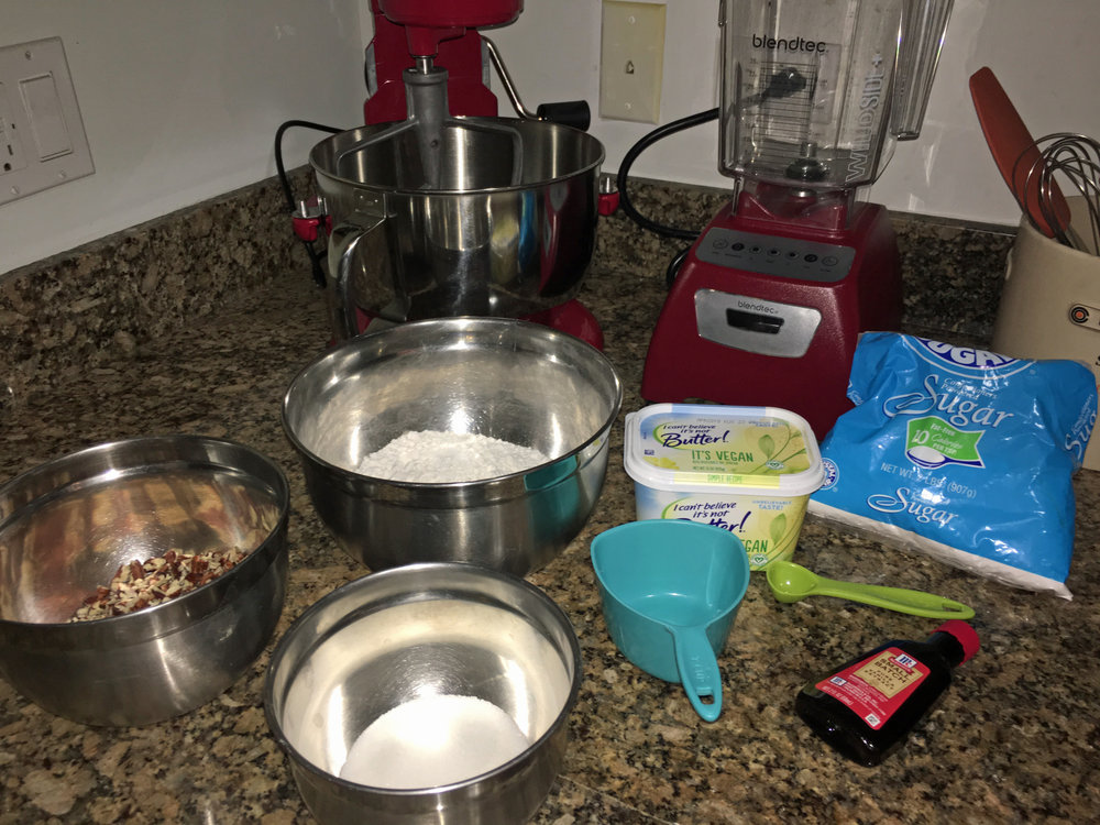 - Recipe:1 cup non-dairy butter1/4 cup granulated sugar2 teaspoons vanilla extract2 cups all purpose flour2 cups raw pecans, finely chopped2 cups confectioners sugar