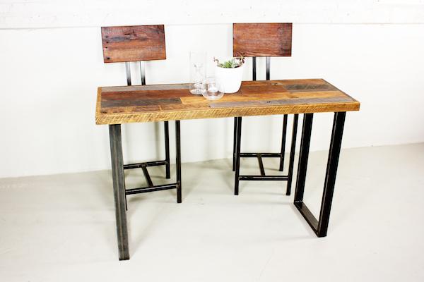 Marvelous Reclaimed Wood Patchwork Wood Hall Table / U Shaped Metal Legs