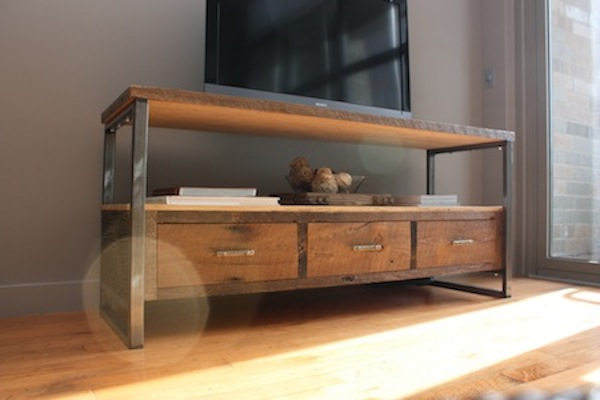 Superb Reclaimed Wood Patchwork Media Console