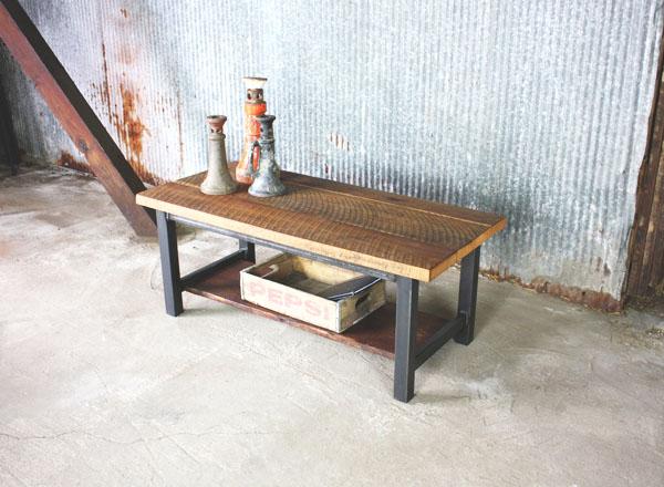 Reclaimed Barn Wood Coffee Table W/Shelf