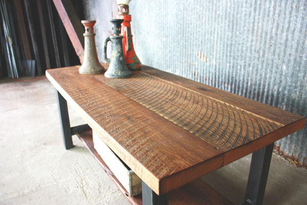 Exceptional Industrial Reclaimed Wood Coffee Table / Lower Shelf
