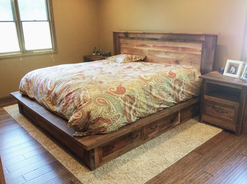 reclaimed wood bed frame storage drawers
