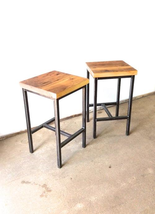 Industrial Backless Reclaimed Pine Bar Stool / Steel Frame Base ...