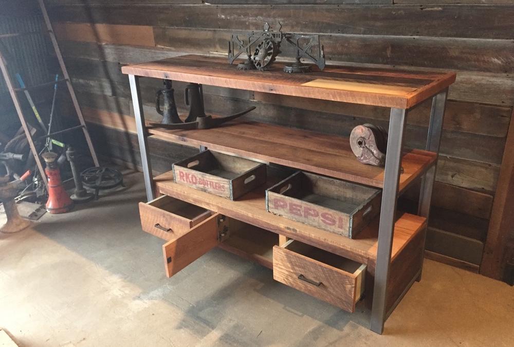 tall reclaimed wood media console u0026 shelving unit