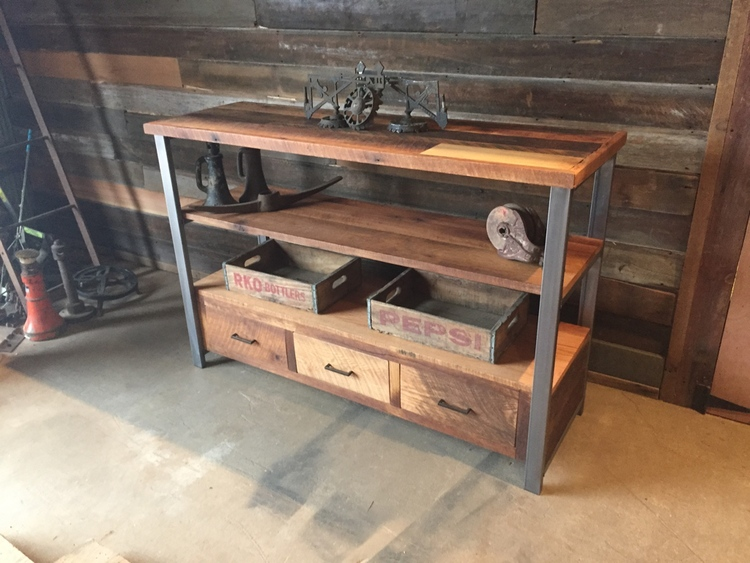 Reclaimed Wood Media Console & Shelving Unit - Reclaimed Wood Media Console & Shelving Unit - WHAT WE MAKE