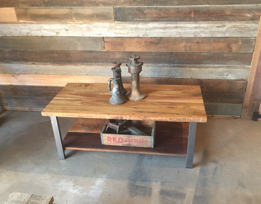 Reclaimed Barn Wood Coffee Table W/Shelf