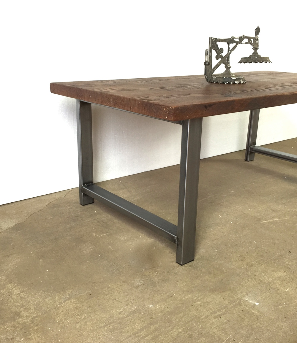 Attractive Reclaimed Wood Coffee Table / Walnut Finish / Industrial H Shaped Metal Legs
