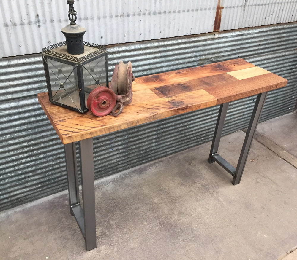 Reclaimed Wood Patchwork Console Table