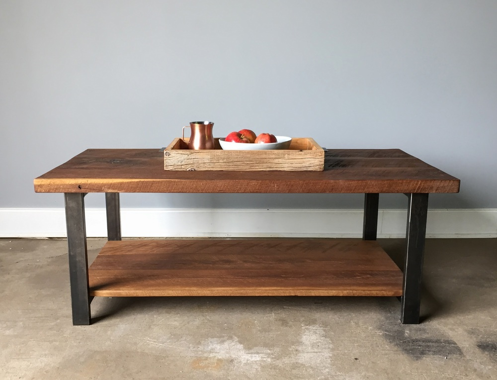 Attractive Reclaimed Wood Oak Coffee Table Lower Shelf What We Make