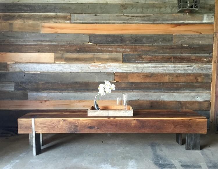 long modern reclaimed wood coffee table / solid steel legs - what