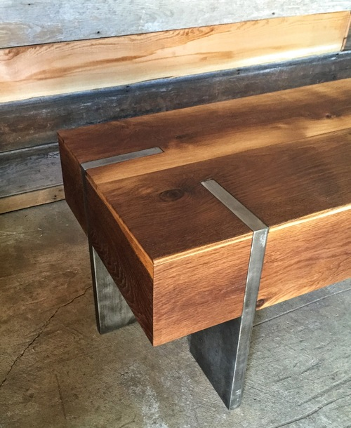 Modern Reclaimed Wood Furniture long modern reclaimed wood coffee table / solid steel legs - what