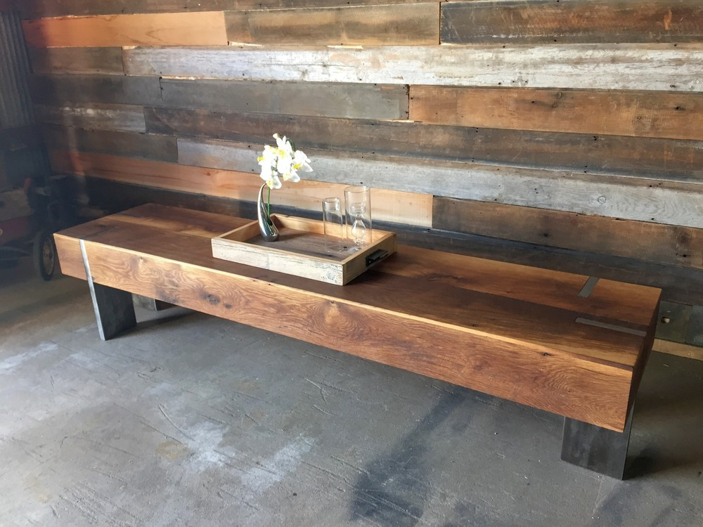 Long Rectangle Modern Reclaimed Wood Coffee Table / Solid Steel Legs