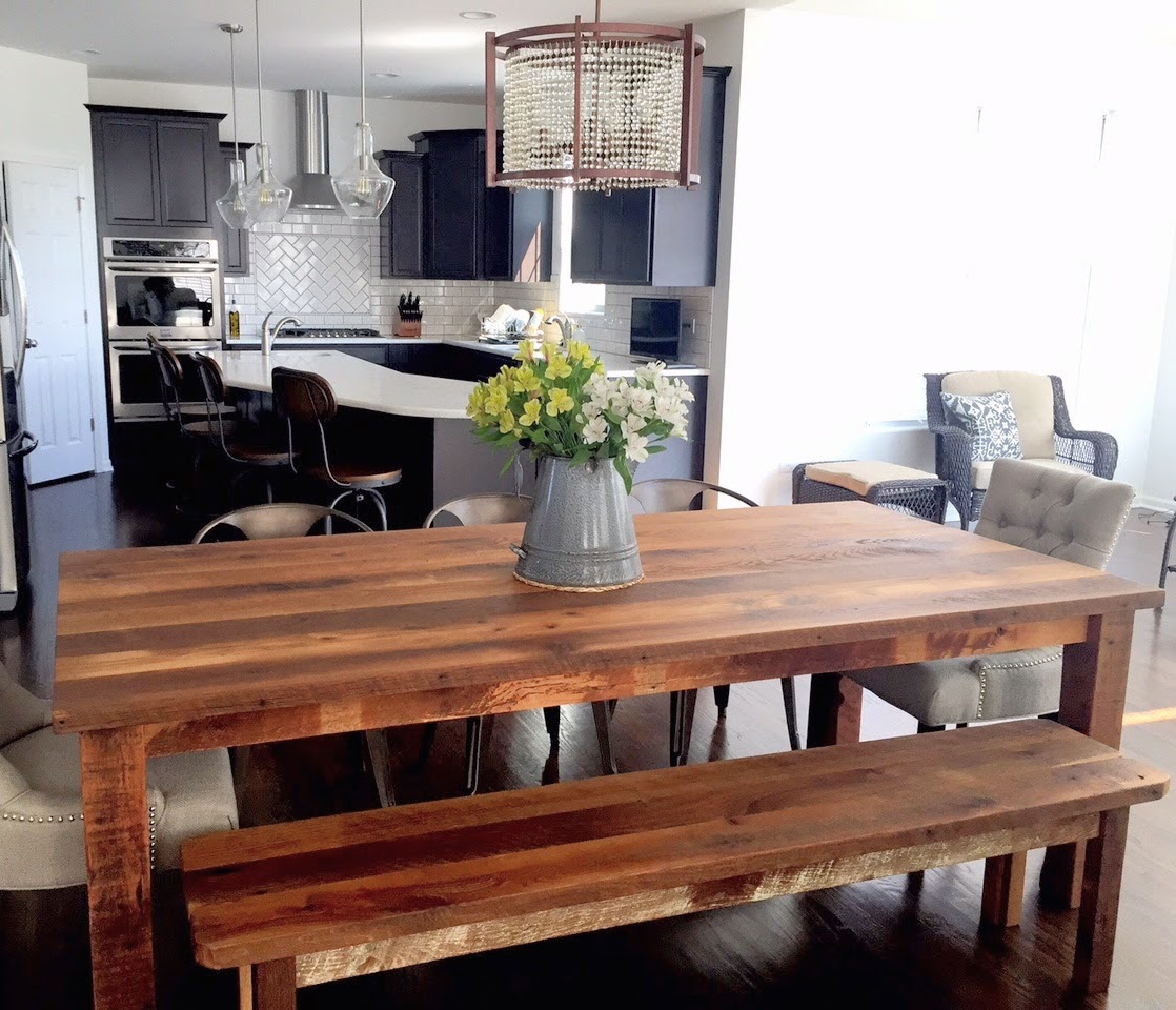 Reclaimed Wood Plank Dining Table Farmhouse Table WHAT WE MAKE - Salvaged wood farmhouse table
