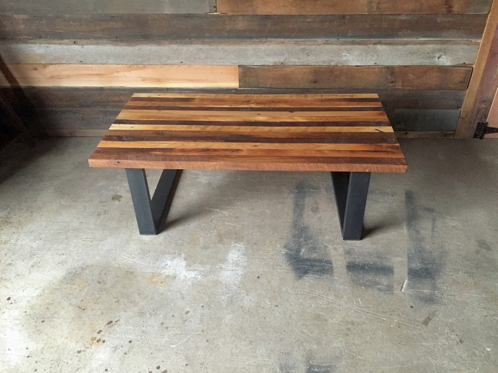 reclaimed wood butcher block coffee table