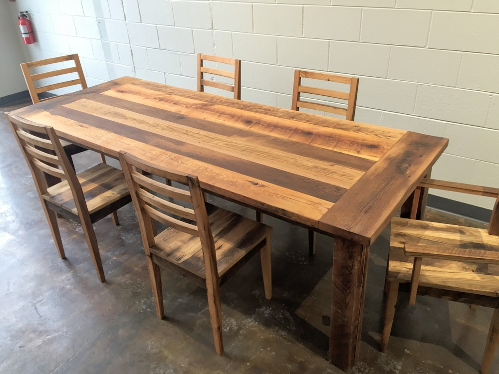 Reclaimed wood farmhouse extendable dining table smooth