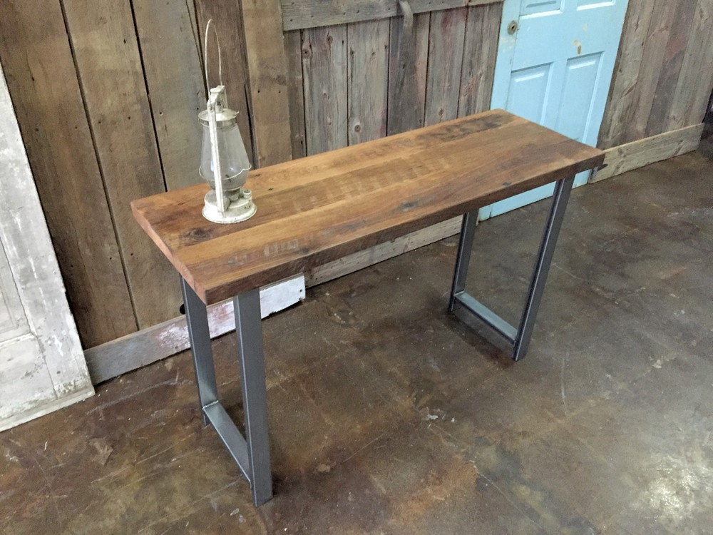 Reclaimed Wood Industrial Console Table / H Shaped Metal Legs