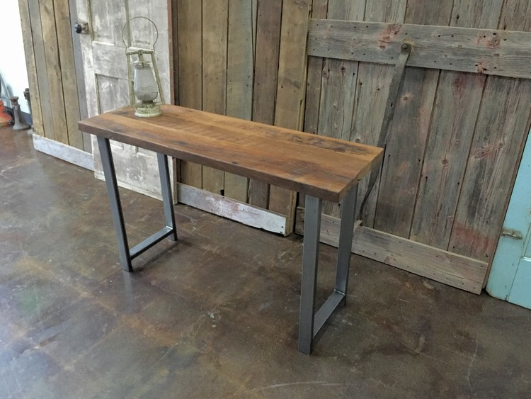 Reclaimed Wood Industrial Console Table   H Shaped Metal Legs. Reclaimed Wood Industrial Console Table   H Shaped Metal Legs