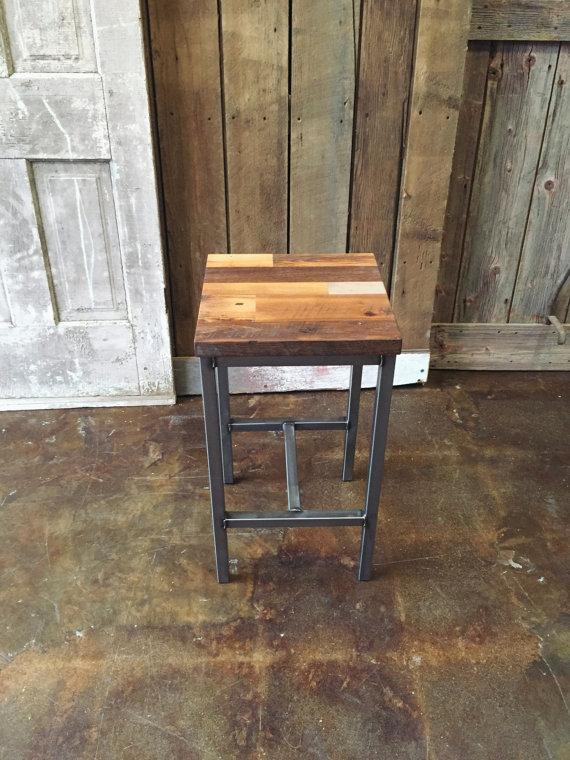 Patchwork Reclaimed Wood Bar Stool / Steel Frame Base