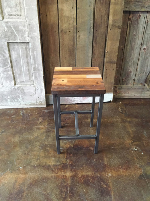 Patchwork Reclaimed Wood Bar Stool / Steel Frame Base - Patchwork Reclaimed Wood Bar Stool / Steel Frame Base - WHAT WE MAKE