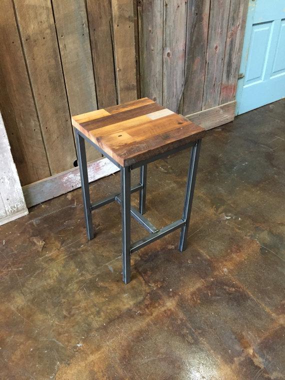 Patchwork Reclaimed Wood Bar Stool  Steel Frame Base - WHAT WE MAKE