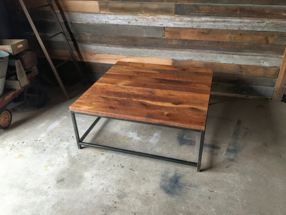 Square Stoic Reclaimed Wood Coffee Table / Steel Box Frame