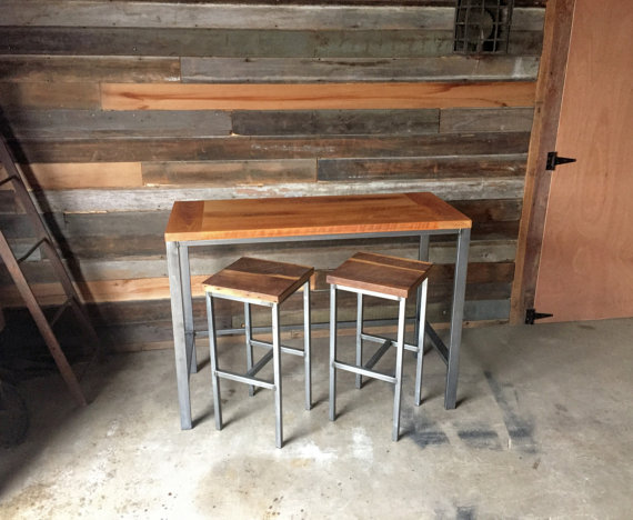 Good Counter Height Reclaimed Wood Kitchen Table / Pub Table
