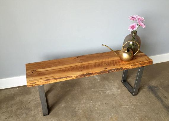reclaimed wood live edge bench ushaped metal legs