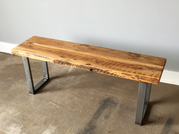 Reclaimed Wood Live Edge Bench U Shaped Metal Legs What We Make