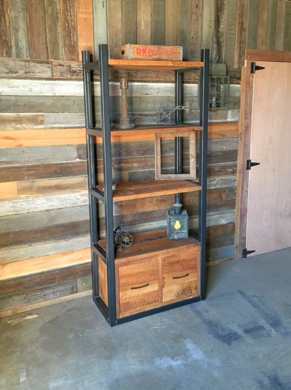 Industrial Reclaimed Wood Storage Bookshelf, Open Shelving + Drawers