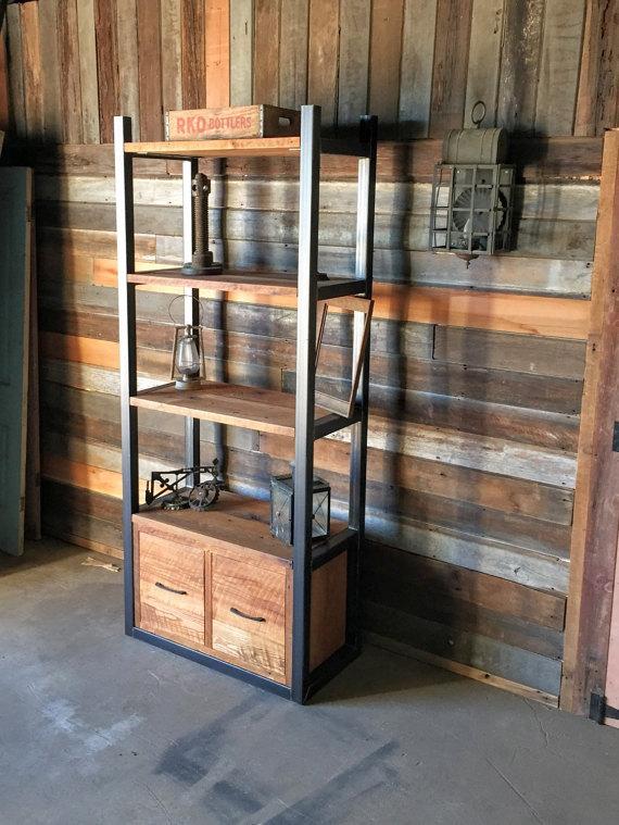 Industrial Reclaimed Wood Storage Bookshelf Open Shelving Drawers