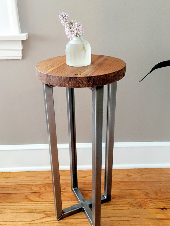 Round Reclaimed Wood Accent Table / Steel Frame Pedestal - WHAT WE MAKE - Round Reclaimed Wood Accent Table / Steel Frame Pedestal - WHAT WE